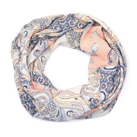 Peach and Blue Lightweight Paisley Infinity