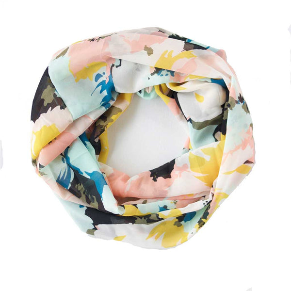 Pink, Blue, Yellow and Black Watercolour Floral Lightweight Infinity