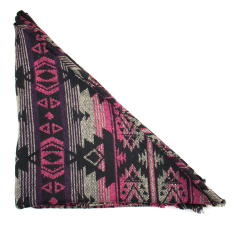 Black, Pink and Purple Tribal Print Triangle Scarf