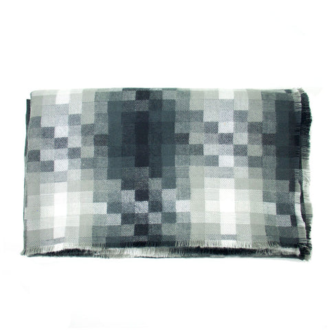 Grey and White Pixilated Blanket Scarf