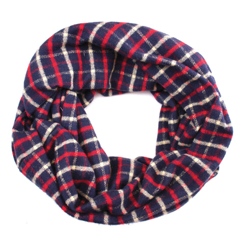 Blue, Red  & Cream Flannel Infinity