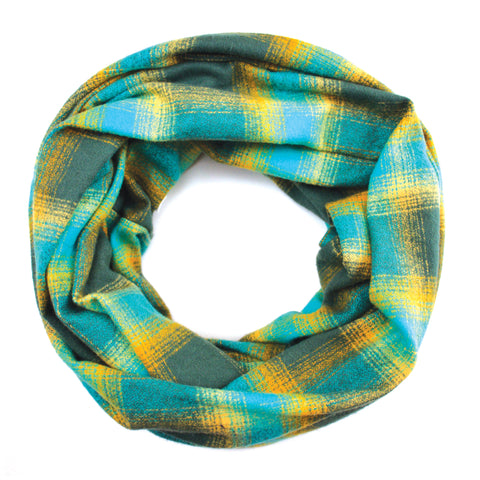 Teal and Yellow Flannel Infinity