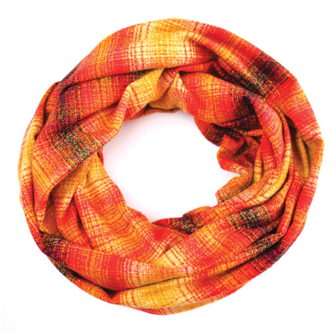 Mustard, Red and Black Plaid Flannel Infinity