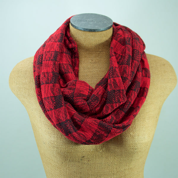 Red and Black Buffalo Plaid Sweater Knit Infinity Scarf
