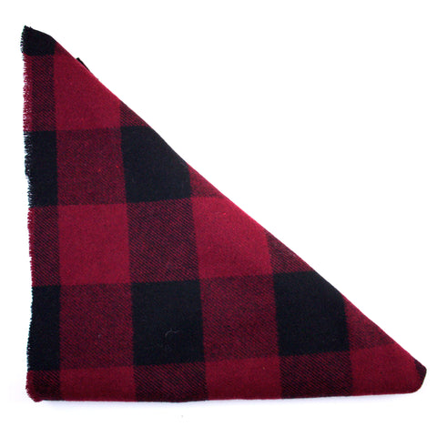 Red and Black Buffalo Plaid Triangle Scarf