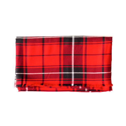 Red Black and White Plaid Lightweight Blanket Scarf