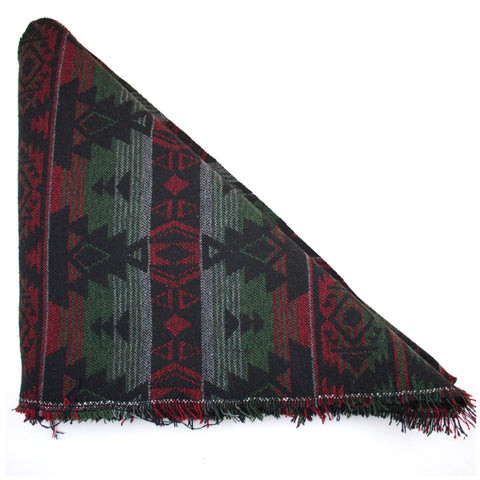 Red Green & Black Tribal Print Triangle Scarf