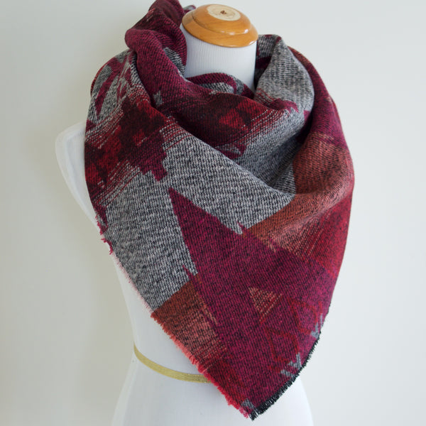 Red Pink and Grey Triangle Scarf