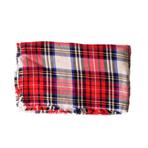 Red White Blue and Green Plaid Lightweight Blanket Scarf