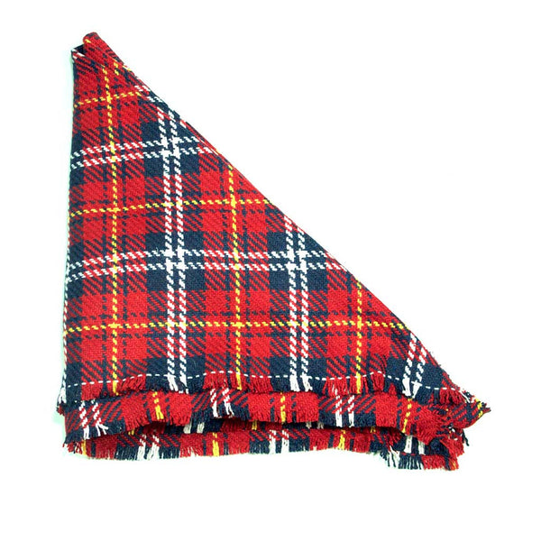 Red White Yellow and Blue Plaid Triangle Scarf