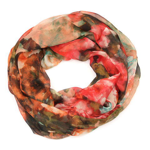 Floral Water Colour Silk Infinity