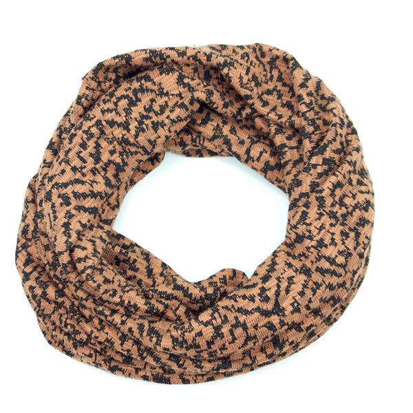 Tan and Black Sweater Knit Infinity Scarf