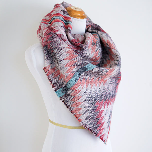 Grey, Teal and Coral Southwest Triangle Scarf
