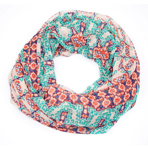 Teal Orange Blue Aztec Silk Infinity