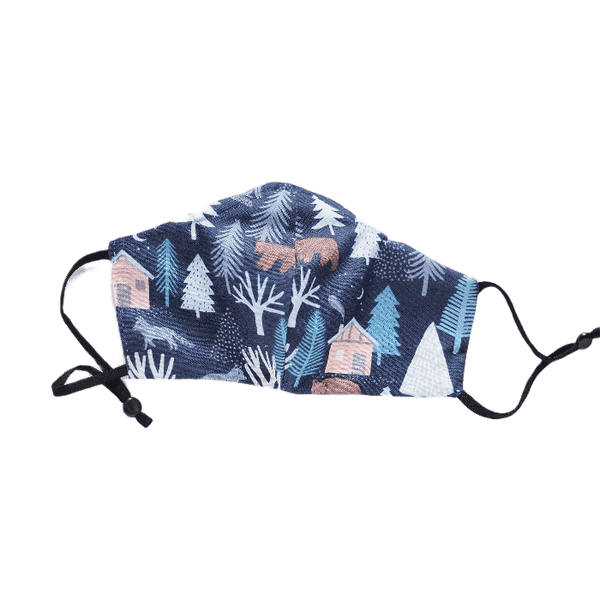 Woodland Print on Blue, Three Layer Face Mask