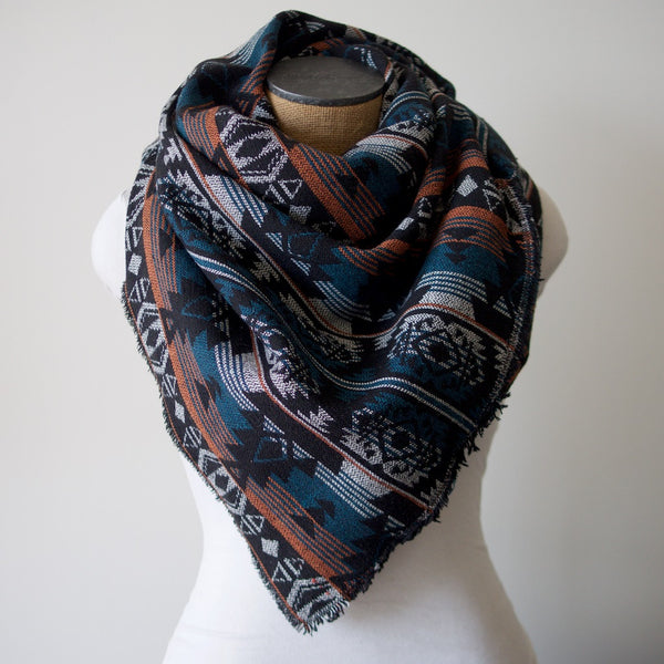 Teal Rust & Black Tribal Print Triangle Scarf