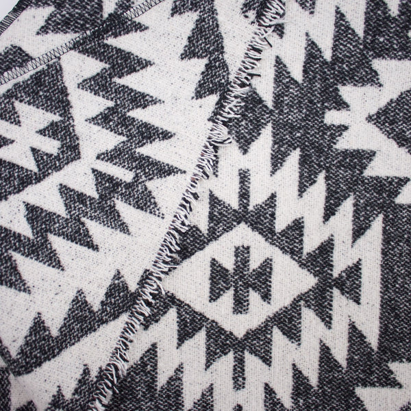 White and Grey Aztec Print Triangle Scarf