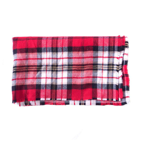 Red White Black Plaid Blanket Scarf