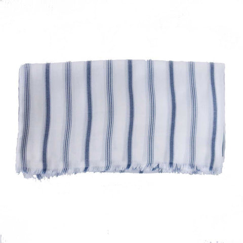 White and Blue Striped Blanket Scarf