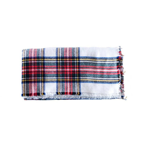 Red White Blue and Green Wool Plaid Blanket Scarf