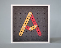 Letter A Meccano Illustrated Birthday Card – Vintage children's toy