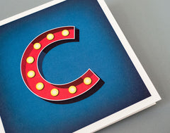 Alphabet Initial Letter C Birthday Card – Vintage Hollywood – Illustrated Marquee Lights