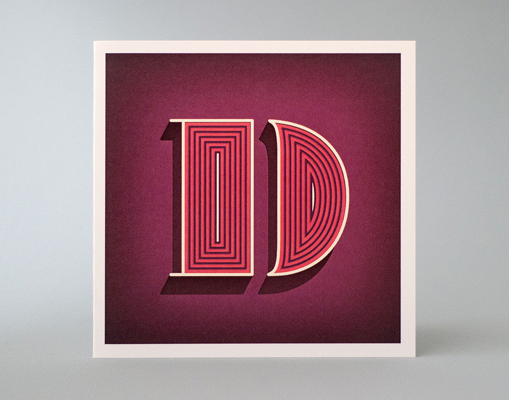 Alphabet Letter D Initial Card – Illustrated Birthday Card – Optical Illusion