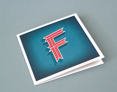 Alphabet Letter F Initial Card – Illustrated Birthday Card