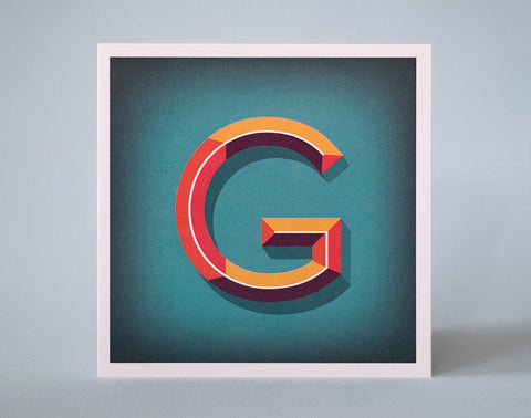 Letter G Illustrated Card – 3 dimensional letter – Alphabet Initial Card