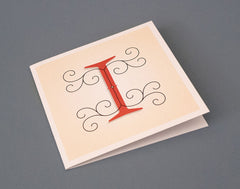 Alphabet Letter I Initial Card – Illustrated Letter – Decorative ornamentation