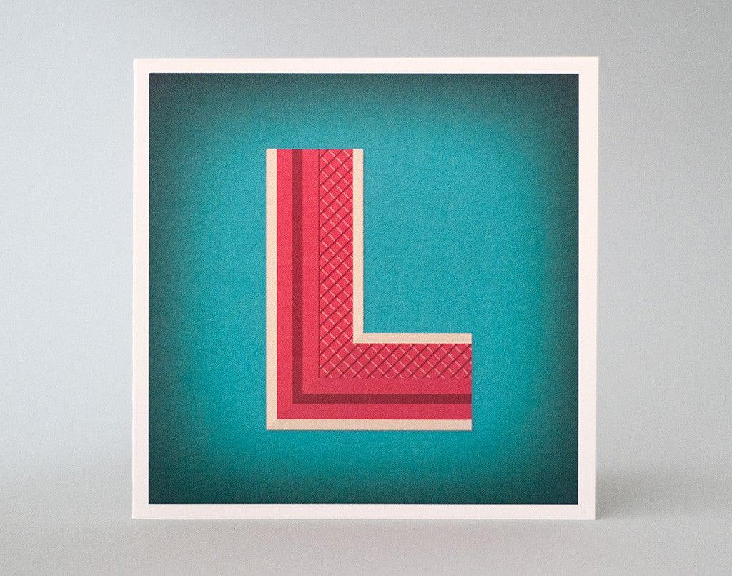 llustrated Letter L Card – Monogram – Alphabet Initial Card – Decorative – Art Deco
