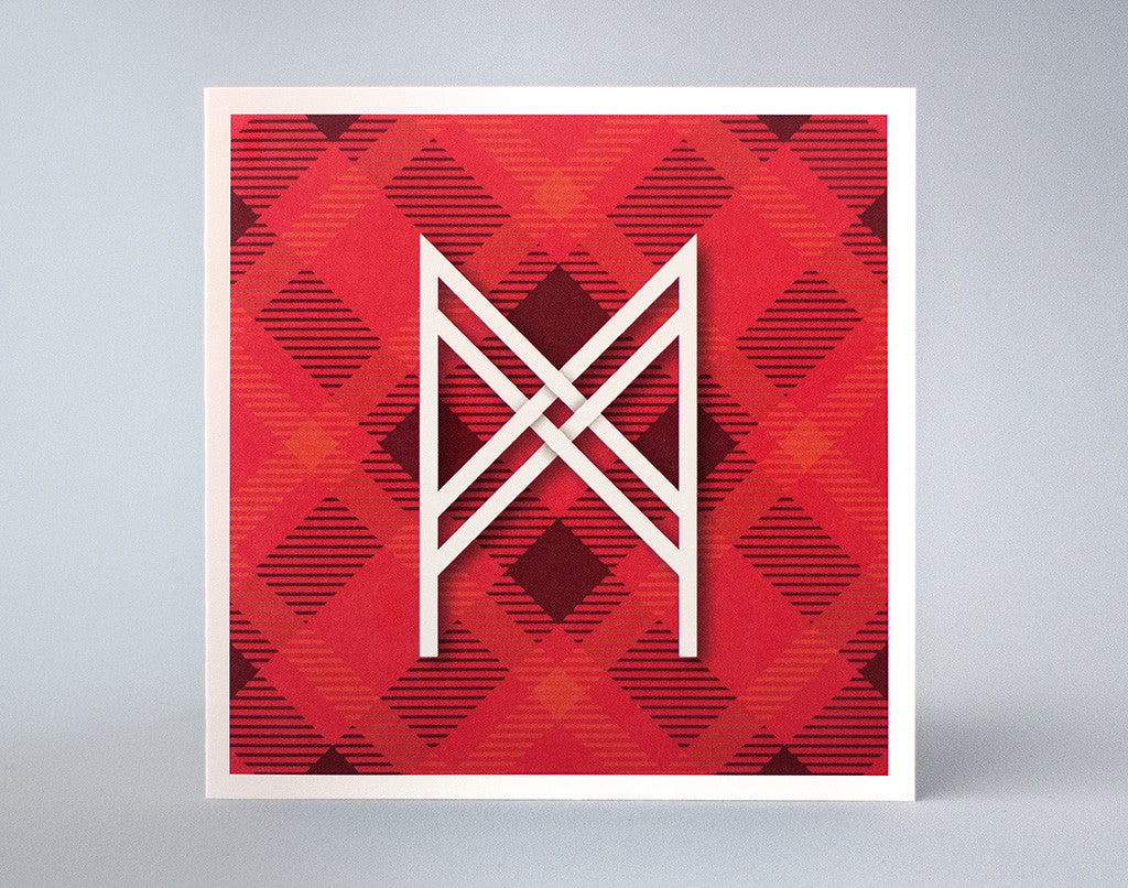 Letter M Birthday Card – Alphabet Letter M – Illustrated Initial Card – Tartan design – Picnic Rug Pattern