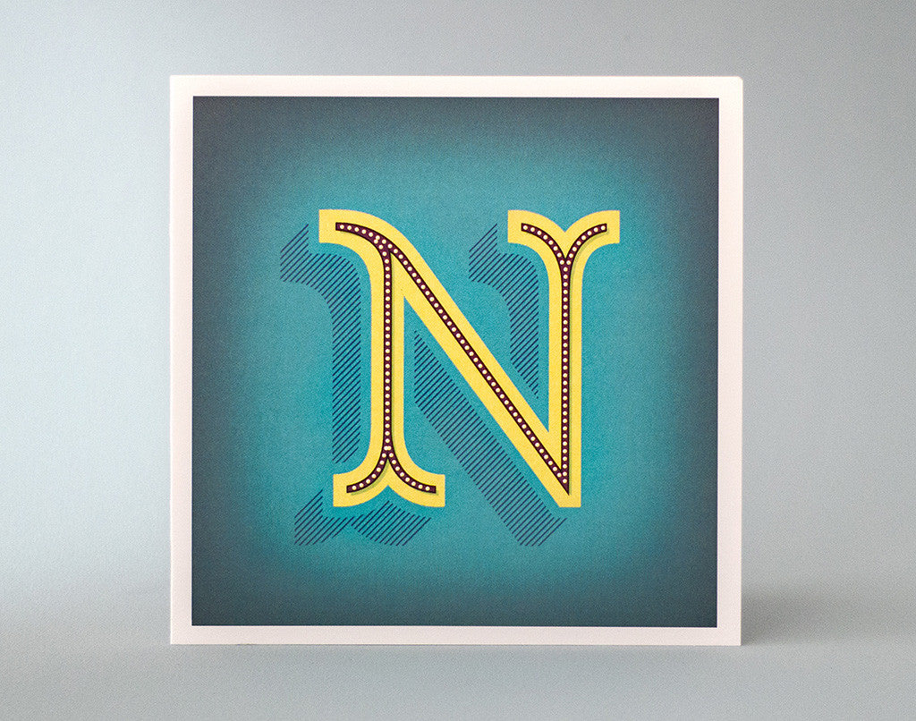 Monogram Letter N – Alphabet Initial Card – Illustrated Letter – Decorative ornamentation