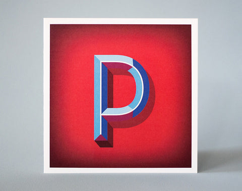 Letter P Illustrated Card – Alphabet Initial Card – 3 dimensional letter – Beveled lettering