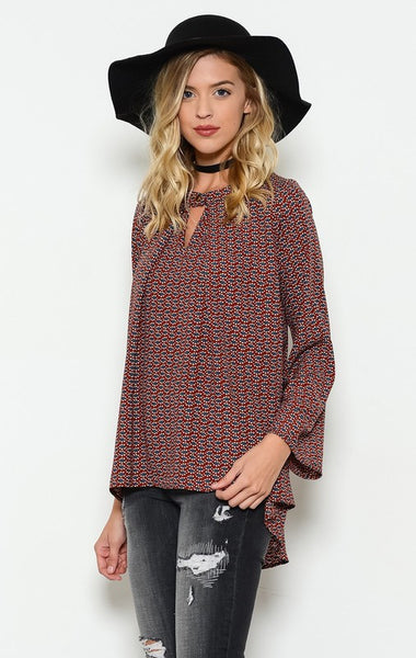 Trapeze Printed Rust Top