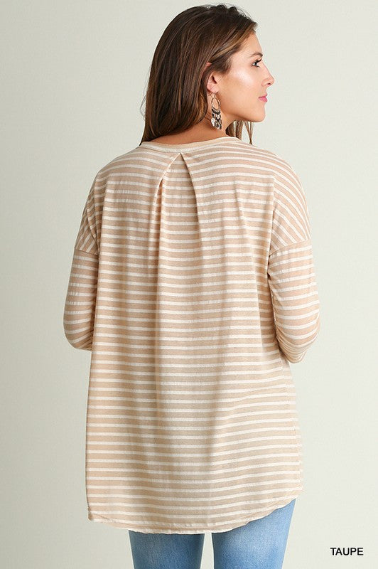 Taupe Striped Pocket Tee