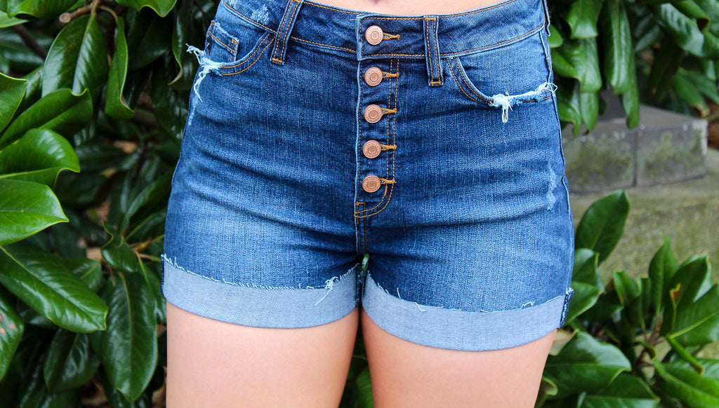 Button Up Denim Shorts