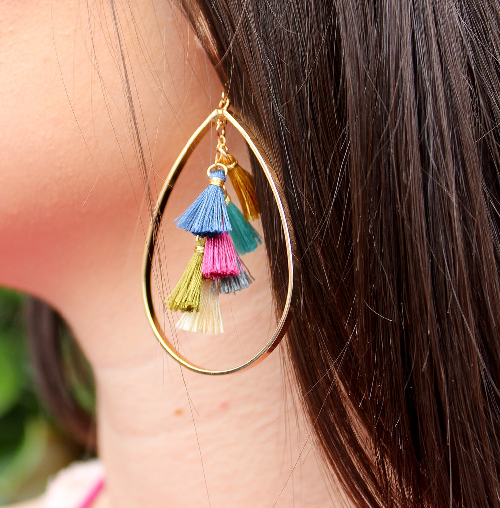 Gold Teardrop Earring with Multicolor Tassels