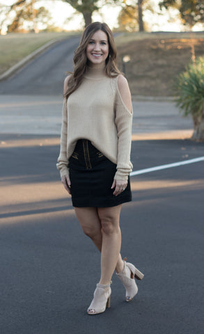 Suede mini skirt w/studded accents