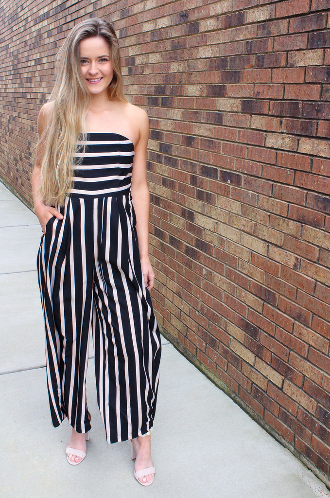 Striped Tube Jumpsuit with Smocking on Back with Pockets