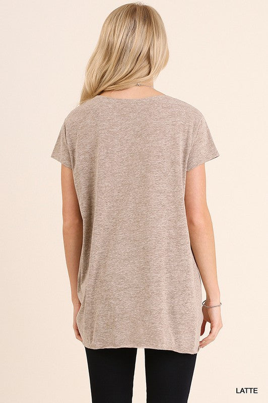 Taupe Twisted Tee