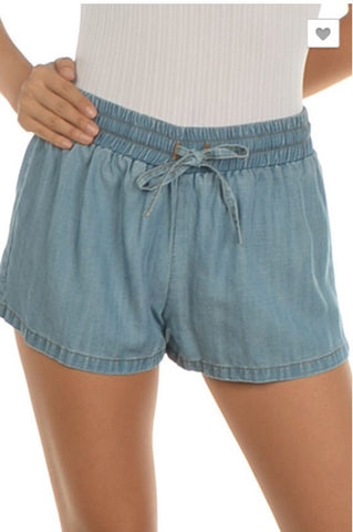Lightweight Washed Chambray Shorts