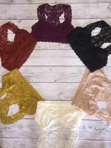 Fall Colors Wide Strap Lace Bralettes