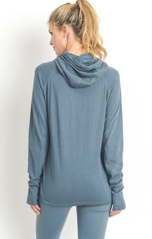 Athletic Hoodie w/ Thumb Hole Sleeves Top