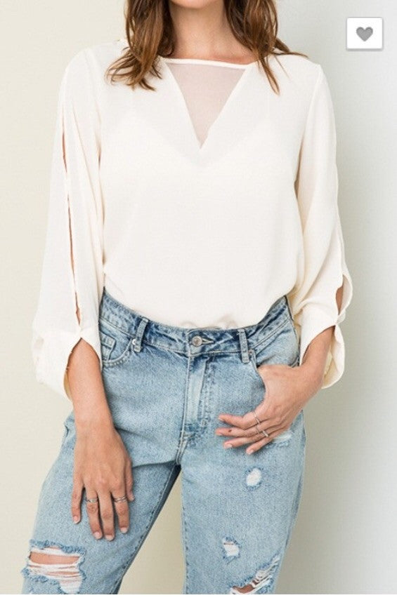 Cream Mesh V Blouse