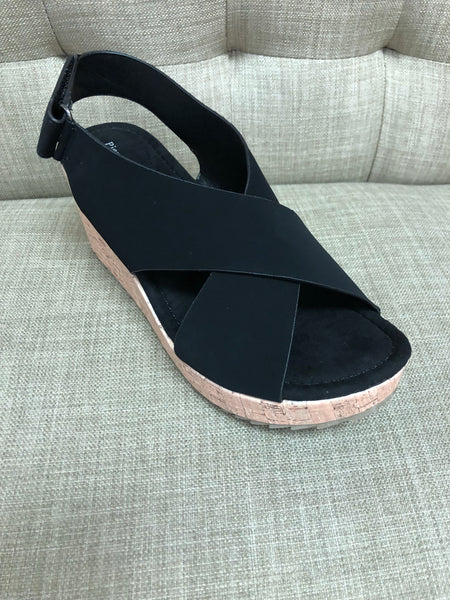 Nubuck Criss Cross Strap Sandal with Cork Wedge