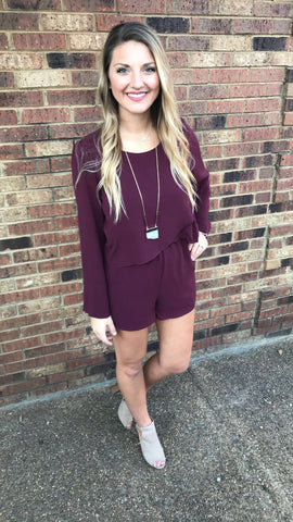 Long Flare Sleeve Romper with Overlapping Tulip Front