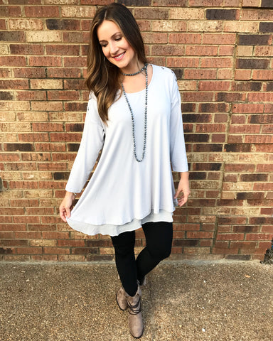 3/4 Sleeve Layered Tunic with Criss Cross Cold Shoulders