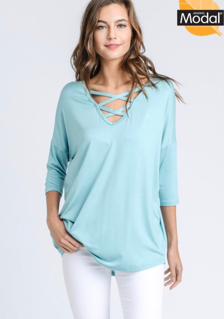 Crisscross V Neck Modal Top