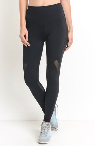 High waist athletic jogging w/ mesh on legs
